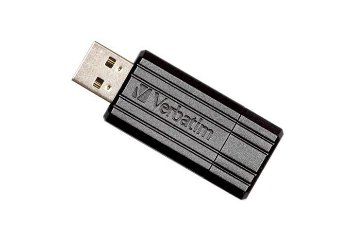 זכרון USB נייד  Verbatim 64GB PinStripe USB Drive Black
